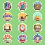Rocznik rzeczy mieszkania ikona Zdjęcie Stock