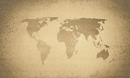 Rocznik sepiowa światowa mapa zdjęcie royalty free