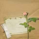Rocznik stara pocztówka z różami Obraz Stock