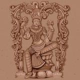 Rocznik statua Indiańska bogini Lakshmi rzeźba Fotografia Royalty Free