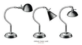 Rocznik stołowej lampy ręki remisu rocznika rytownictwa inkasowy antiqu zdjęcie royalty free
