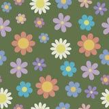 Rocznik stylizował stokrotka kwiatu bezszwowego wzór na zielonym backgrou ilustracja wektor