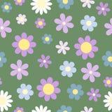 Rocznik stylizował stokrotka kwiatu bezszwowego wzór na zielonym backgrou ilustracji