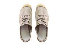 Rocznik szarość buty odizolowywający na białym tle obrazy stock