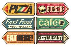 Rocznik szyldowe poczty ustawiają dla kawiarni, pizzy, hamburgeru i fasta food restauracji, royalty ilustracja