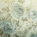 Rocznik tapeta z błękitnym kwiecistym wiktoriański wzorem Obrazy Stock