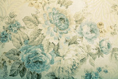 Rocznik tapeta z błękitnym kwiecistym wiktoriański wzorem Zdjęcie Royalty Free