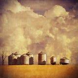 Rocznik textured lata gospodarstwa rolnego krajobraz zdjęcia stock