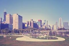 Rocznik tonował fotografię Chicagowski miasta śródmieście, usa Obraz Royalty Free