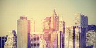 Rocznik tonował panoramicznego obrazek Manhattan przy zmierzchem, usa Obraz Royalty Free