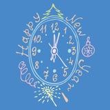 Rocznik twarz nowy rok z ornamentu wektoru ilustracją ilustracji