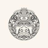 Rocznik twarzy tatuażu ręka rysujący smutny styl ilustracji
