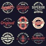 Rocznik typografii oryginalny set Retro druk dla koszulka projekta Grafika dla autentycznej odzieży Kolekcja trójnik koszula odzn royalty ilustracja