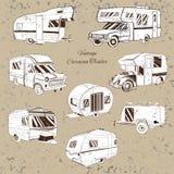 Rocznik Ustawia odosobnioną rękę Rysującą, doodle obozowicza przyczepa, samochodowy odtwarzanie transport, pojazdu obozowicza sam ilustracja wektor