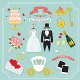 Rocznik ustawiający dla ślubnego zaproszenia projektów śliczni elementy ilustracja wektor