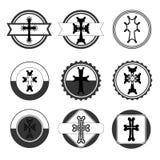 Rocznik ustawiający krzyże armenian krzyż zapas Obraz Stock