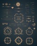 Rocznik ustawiający dekoracyjni elementy Zdjęcie Stock