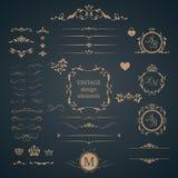 Rocznik ustawiający dekoracyjni elementy Zdjęcia Stock