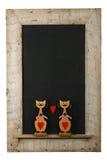Rocznik walentynek miłości kotów drewna ramy Chalkboard Odzyskujący Iso Obrazy Stock