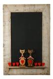 Rocznik walentynek miłości kotów drewna ramy Chalkboard Odzyskujący Iso Zdjęcia Stock