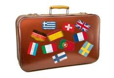 Rocznik walizka na białym tle dla podróży w Europe Obraz Royalty Free