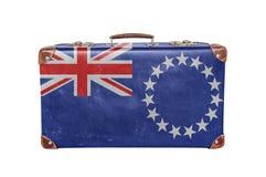 Rocznik walizka z Kucbarskich wysp flaga Obraz Stock