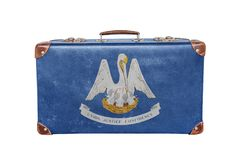 Rocznik walizka z Luizjana flaga obrazy royalty free