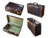 Rocznik walizki kolaż na bielu Otwarci, zamknięci, frontowi i boczni widoki, obrazy royalty free