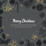Rocznik wektorowa handdrawn kartka bożonarodzeniowa Zdjęcie Royalty Free