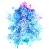 Rocznik wektorowa ilustracja z medytaci pozą Zdjęcia Royalty Free