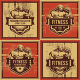 Rocznik wektorowa sprawność fizyczna i gym odznaka Obraz Royalty Free