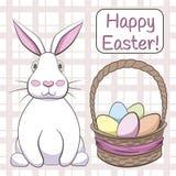 Rocznik Wielkanocna karta z królikiem i koszykowy pełnym Easter jajka ja ilustracja wektor
