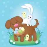 Rocznik Wielkanocna karta z ślicznym szczeniakiem, kurczakami i Easter królikiem, ilustracji