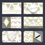 Rocznik wizytówka Ustalone retro karty z geometrycznymi postaciami handmade Obrazy Royalty Free
