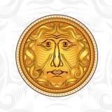 Rocznik złota twarz lub bóg słońce Zdjęcie Stock
