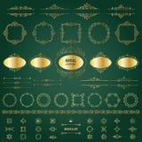 Rocznik złote ramy, dividers mega set ilustracji
