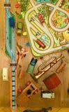 Rocznik zabawki Zabawki dla chłopiec retro zabawki Płaski projekt Zdjęcie Stock