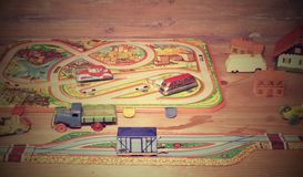 Rocznik zabawki Zabawki dla chłopiec retro zabawki Retro skutek Zdjęcie Stock