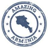Rocznik Zadziwia Armenia podróży znaczek z mapą Fotografia Royalty Free