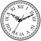 Rocznik zegarowej ręki rysujący nakreślenie odizolowywający Zdjęcie Royalty Free