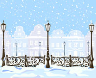 Rocznik zimy miasto z lampionami Obrazy Royalty Free