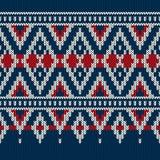 Rocznik zimy wakacje Stylowy Bezszwowy Trykotowy wzór Zdjęcie Stock