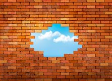 Rocznika ściana z cegieł tło z dziurą Obrazy Royalty Free