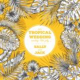 Rocznika ślubny zaproszenie Modny tropikalny liścia projekt Zdjęcia Stock