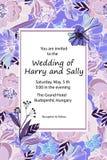 Rocznika ślubny zaproszenie Ręka rysujący wektorowi łąka kwiaty i royalty ilustracja
