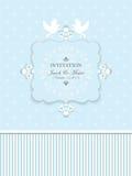 Rocznika ślubny zaproszenie w błękicie z gołębiami Fotografia Stock