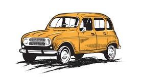 Rocznika żółty stary samochód - samochód w rytownictwo stylu royalty ilustracja