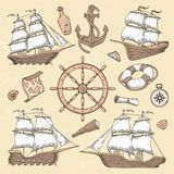 Rocznika żołnierz piechoty morskiej statki Stara kartusz rama, statek kotwica i denny koło z antycznym kompasem, Ocean żaglówki r ilustracja wektor