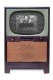 Rocznika 1950 TV Telewizja Odizolowywająca na Biel Obraz Stock
