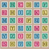 Rocznika abecadła znaczki Obrazy Royalty Free